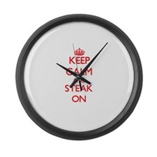 Keep calm and Steak ON Large Wall Clock