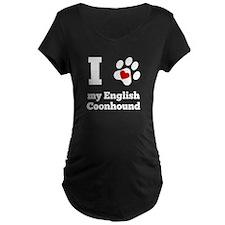 I Heart My English Coonhound Maternity T-Shirt