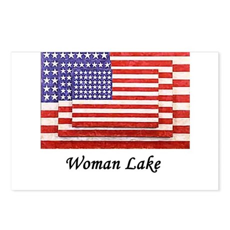 USA 3 Flags Postcards (Package of 8)