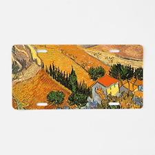 Van Gogh Valley w Ploughman Aluminum License Plate