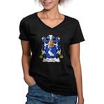 Racine Family Crest Women's V-Neck Dark T-Shirt