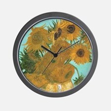 Van Gogh Vase with Sunflowers Wall Clock