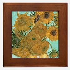 Van Gogh Vase with Sunflowers Framed Tile