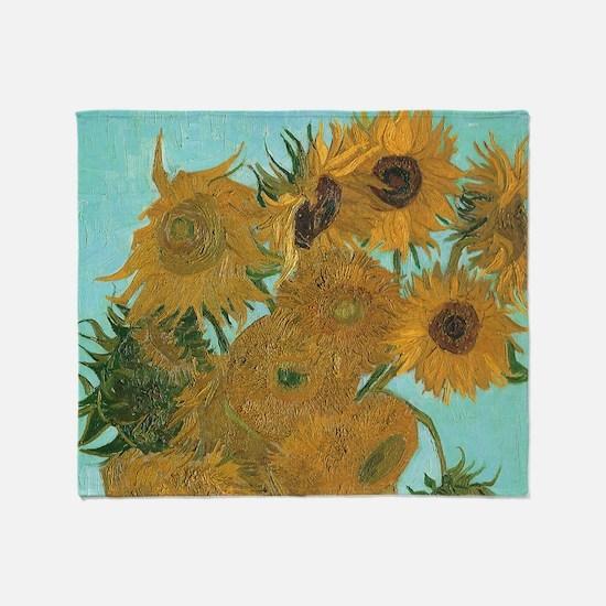 Van Gogh Vase with Sunflowers Throw Blanket
