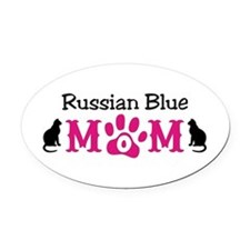 Russian Blue Mom Oval Car Magnet