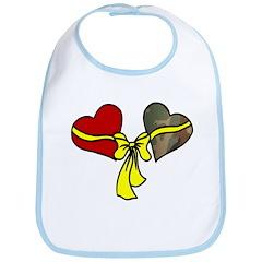 2 Hearts Military Yellow Ribbon Bib