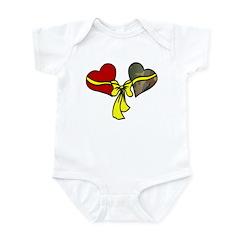 2 Hearts Military Yellow Ribbon Infant Creeper