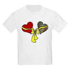 2 Hearts Military Yellow Ribbon Kids T-Shirt
