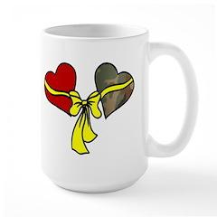 2 Hearts Military Yellow Ribbon Mug