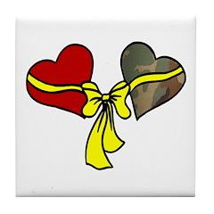 2 Hearts Military Yellow Ribbon Tile Coaster