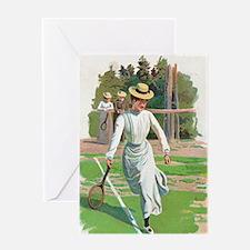 tennis in art Greeting Cards