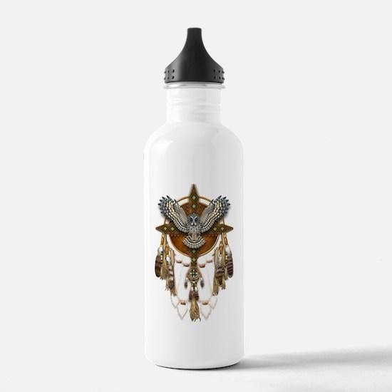Great Grey Owl Mandala Water Bottle