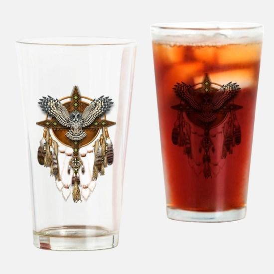 Great Grey Owl Mandala Drinking Glass