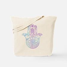 Hamsa Hand Purple and Blue Tote Bag