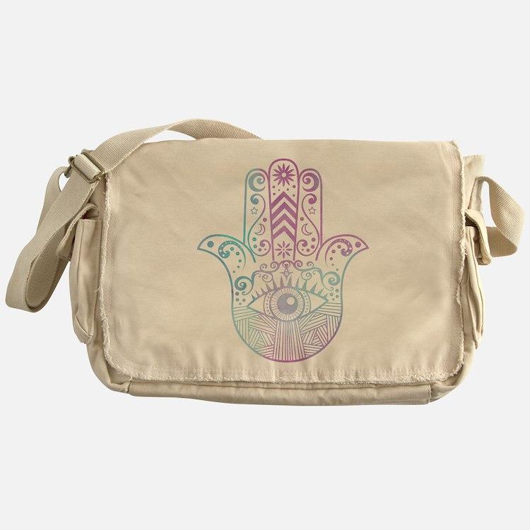 Hamsa Hand Purple and Blue Messenger Bag