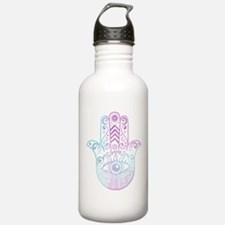 Hamsa Hand Purple and Blue Water Bottle