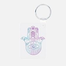 Hamsa Hand Purple and Blue Keychains