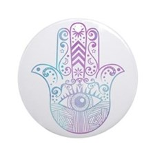 Hamsa Hand Purple and Blue Ornament (Round)
