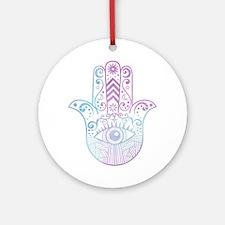 Hamsa Hand Purple and Blue Ornament (Round)