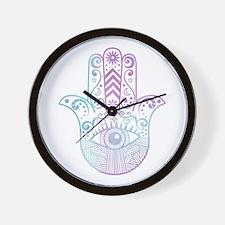 Hamsa Hand Purple and Blue Wall Clock