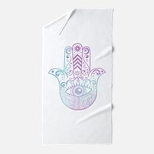 Hamsa Hand Purple and Blue Beach Towel