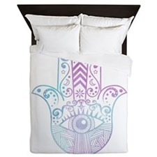 Hamsa Hand Purple and Blue Queen Duvet