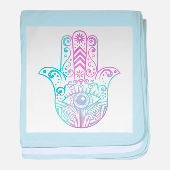 Hamsa Hand Purple and Blue baby blanket
