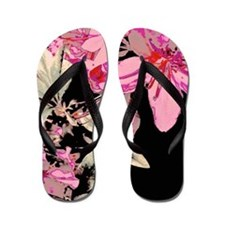Contrasted Lilies Flip Flops