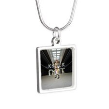 Pataki for President Silver Square Necklace