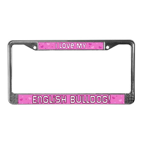 Pink Polka Dot English Bulldog License Plate Frame