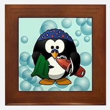 Swimmer Penguin Swimming Framed Tile