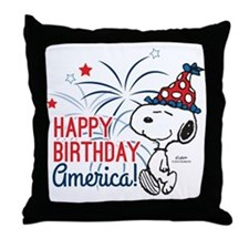 Snoopy - Happy B-Day America Throw Pillow