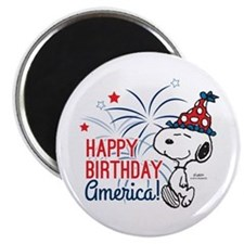 Snoopy - Happy B-Day America Magnet