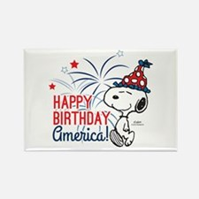 Snoopy - Happy B-Day America Rectangle Magnet