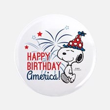 Snoopy - Happy B-Day America Button