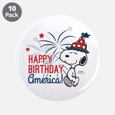 """Snoopy - Happy B-Day America 3.5"""" Button (10 pack)"""