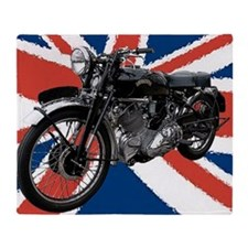 VIncent Motor Bike on Union Jack Throw Blanket