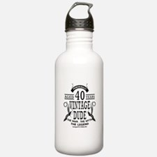 vintage dude aged 40 years Water Bottle