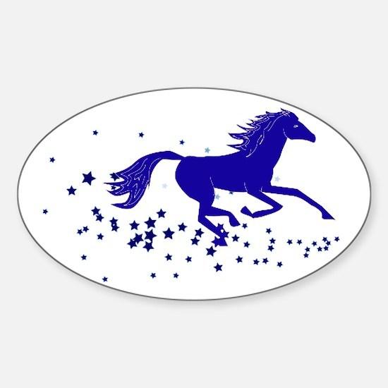 Blue Stars Pony Oval Decal