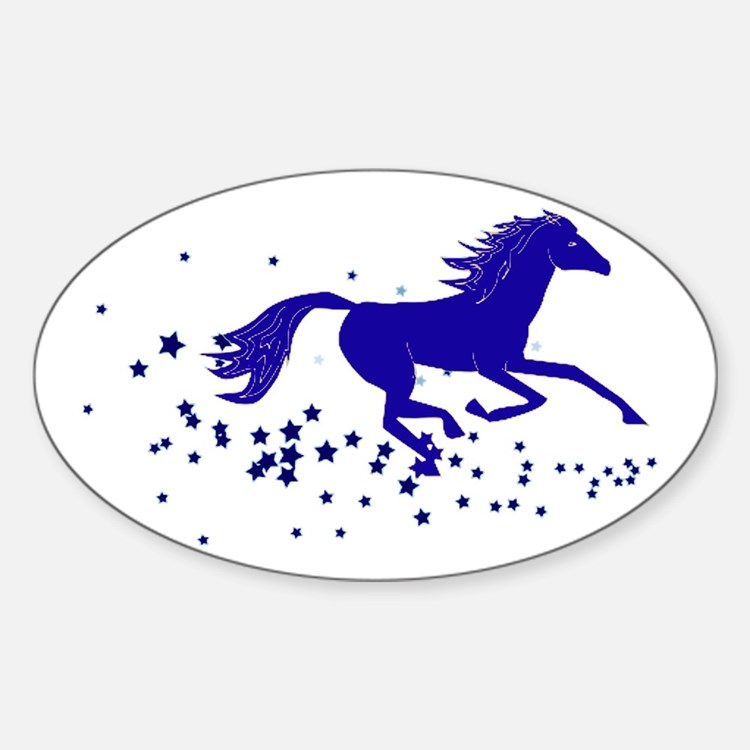 Blue Stars Pony Oval Decal