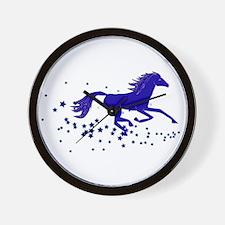 Blue Stars Pony Wall Clock