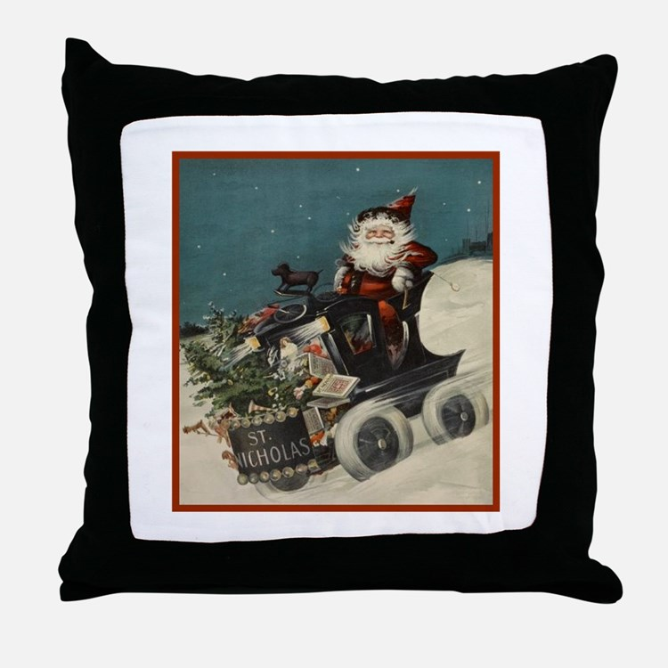 St. Nick on Train Throw Pillow