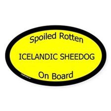Spoiled Icelandic Sheepdog On Board Oval Decal