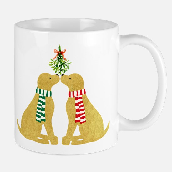 Yellow Labs Kissing Mistletoe Mug