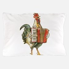 Accordian Playing Chicken Pillow Case
