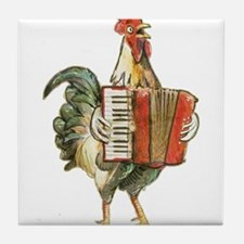 Accordian Playing Chicken Tile Coaster