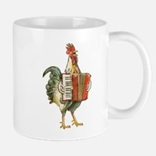 Accordian Playing Chicken Mugs