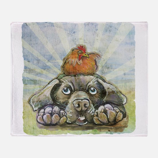 The Chicken and the Dog Throw Blanket
