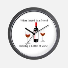 Wine and Friends Wall Clock
