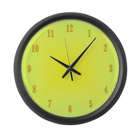 Yellow Glow With Numbers Large Wall Clock By